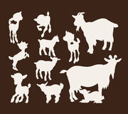 Set of silhouette images of goats Stock Photography