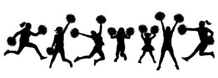 Set of silhouette jumping cheerleaders with pom-poms. Vector illustration.  royalty free illustration