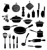 Set of silhouette kitchen ware. Black and white vector illustrator. Isolated on white Stock Image