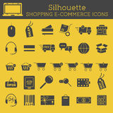 Set of  Silhouette On-Line Shopping icons isolated. On yellow background. Can be used as elements in infographics, web and mobile app icons etc. Easy to recolor Royalty Free Stock Image