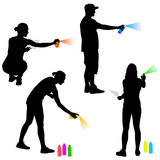 Set silhouette man and woman holding a spray on a white background. Vector illustration Royalty Free Stock Photos