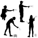 Set silhouette man and woman holding a spray on a white background. Vector illustration Stock Image
