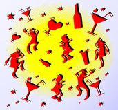Set silhouette merry dancing people Royalty Free Stock Photography
