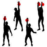 Set silhouette muscular man holding kettle bell.  Vector illustration.  Stock Image