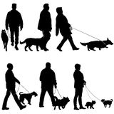 Set silhouette of people and dog on a white background Royalty Free Stock Photography