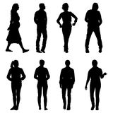 Set silhouette of People walking on White Background Stock Photos