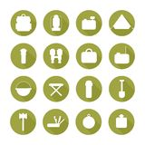 Set of  silhouette pictogram camping equipment Stock Images