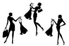 Set  silhouette Pretty shopping girls. Black on white background, vector illustration Stock Photo