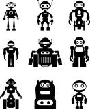 Set of silhouette robots Royalty Free Stock Images