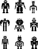 Set of silhouette robots Royalty Free Stock Photography