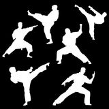 Raster pattern of a set of white silhouettes of a karate on a black background Royalty Free Stock Photos