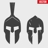 Set of Silhouette Spartan helmets Royalty Free Stock Image