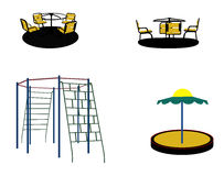 Set of Silhouette Swing Black on White Background. Vector Illust Stock Photography