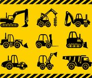 Set of silhouette toys heavy construction machines in a flat style. Stock Photos