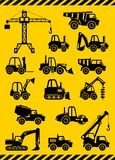 Set of silhouette toys heavy construction and mining machines in a flat style. Vector illustration. Stock Images