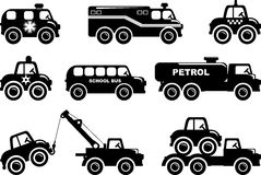 Set of silhouette toys transport in a flat style Stock Image