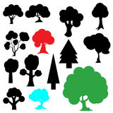 Set silhouette tree. Silhouette set consists of spruce trees and trees that shade Stock Image