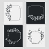 Set of silhouette vertical frames. Royalty Free Stock Photography