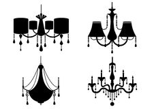 Set of silhouette vintage and luxury chandelier flat icon,Vector illustrations Stock Photos
