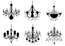 Set of silhouette vintage and luxury chandelier flat icon,Vector illustrations Royalty Free Stock Images