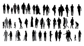 Set of Silhouette Walking People and Children. Royalty Free Stock Photo