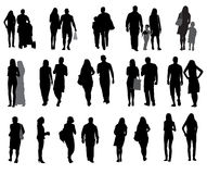 Set of Silhouette Walking People and Children. Royalty Free Stock Photography