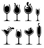 Set of silhouette wine splash glass. Set of wine, champagne, martini and cocktail glass. Splash silhouette drink. Black and white vector illustration