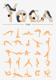Set of silhouette yoga poses in flat design . Yoga infographics. Royalty Free Stock Images