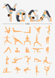 Set of silhouette yoga poses in flat design . Yoga infographics. Stock Image