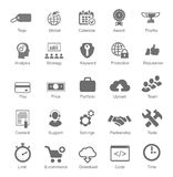 Set silhouetted black and white SEO and internet. Set  silhouetted black and white SEO and internet icons for optimising a website on a computer each labeled Royalty Free Stock Photography