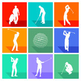 Set of silhouetted golf signs Stock Photos