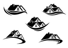 Set of silhouetted real estate icons Stock Photo