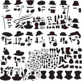 Set of silhouettes accessories Art Nouveau Stock Photography