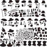 Set of silhouettes accessories Art Nouveau. Set of retro accessories silhouettes of men and women Stock Photography