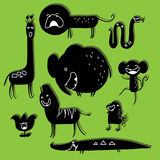 Set of silhouettes of African animals. Stock Photo