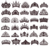 Set of silhouettes of ancient crowns, tiaras, tiara. Illustration set of silhouettes of ancient crowns, tiaras, tiara royalty free illustration