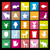 Set silhouettes of animals. Flat icon. Royalty Free Stock Image