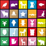 Set silhouettes of animals seamless pattern in Trendy Flat Style Royalty Free Stock Images