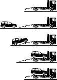 Set of silhouettes auto transporter and car isolated on white background in different positions. Vector illustration. Stock Photography