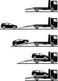Set of silhouettes auto transporter and car  on white background in different positions. Vector illustration. Silhouette illustration of auto transporter and Stock Images