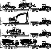 Set of silhouettes auto transporter and heavy construction machines  on white background in different positions. Silhouette illustration of car auto transporter Stock Image