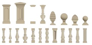 Set  of silhouettes balusters Royalty Free Stock Photography