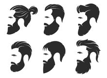 Set of silhouettes of a bearded men, hipster style. Barber shop. Emblems. Fashion badges labels. Vector illustration Royalty Free Stock Image
