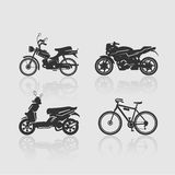 Set Silhouettes bikes Royalty Free Stock Images