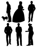 Set of silhouettes. Set of black silhouettes. Men and women in different poses. Vector illustration royalty free illustration