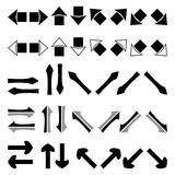 Set of silhouettes black white and grey arrows Stock Images