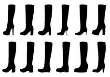 Set of silhouettes of boots, vector illustration Stock Images