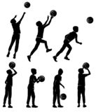Set silhouettes boy playing basketball vector illustration