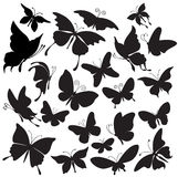 Set of silhouettes of butterflies Stock Photo