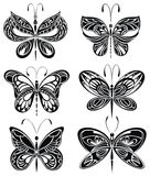 Set of silhouettes of butterflies Stock Photography